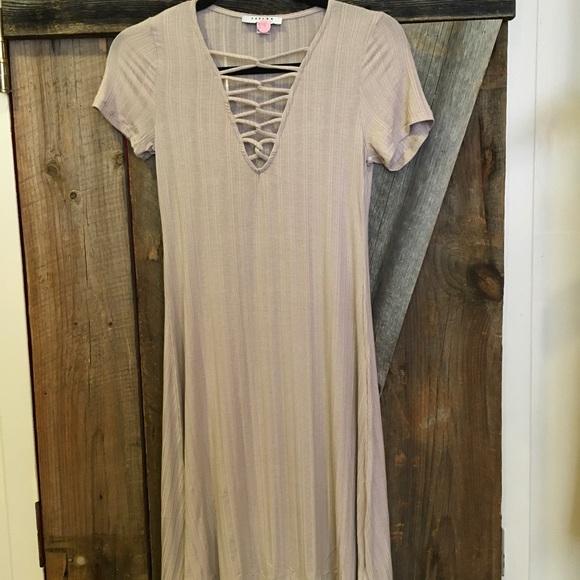 Dresses & Skirts - Neutral Cotton Crisscross Dress